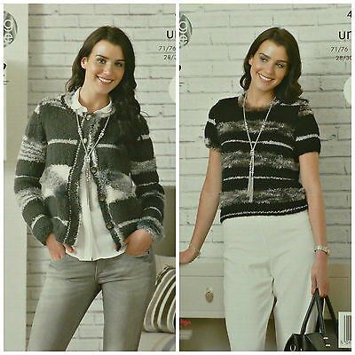 KNITTING PATTERN Ladies Easy Knit Round Neck Cardigan & Top Urban King Cole 4330