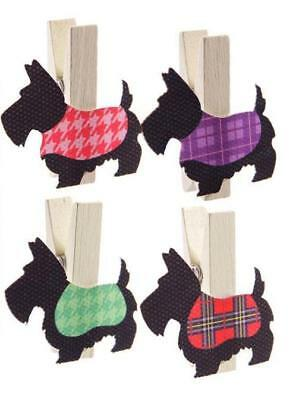 New 4 Black Scottie Dogs In Colourful Coats Shaped Wooden Craft Mini Pegs Peg09