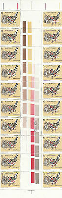 Stamps Australia 1978 Zebra Finch bird with VG perfin in gutter strip of 20, MUH