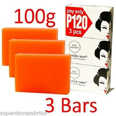 Kojie San Skin Lightening Kojic Acid Soap Skin Mositurizing 3 Bars - 100 Grams