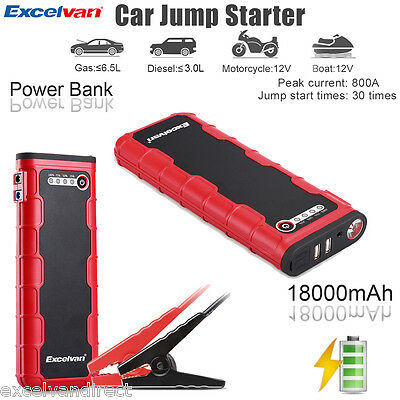 12V 18000mAh Portable Car Jump Starter Pack Battery Charger Power Bank Booster