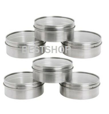 New Ikea Grundtal 6 Pack Stainless Steel Round Magnetic Container,