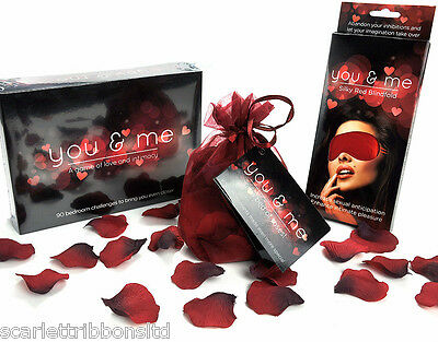 PERFECT ROMANTIC GIFT YOU & ME EROTIC Adult Board Game Blindfold & Rose Petals