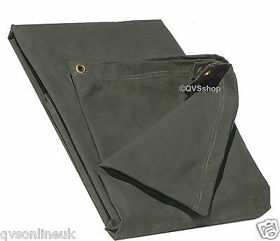 8FT x 10FT GREEN EXTRA HEAVY DUTY 21oz CANVAS TARPAULIN WOOD/LOG PILE SHEET