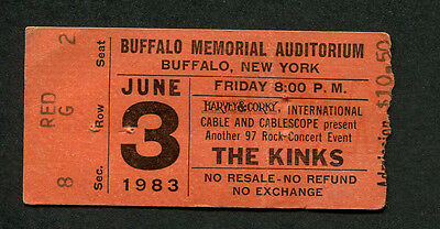 1983 The Kinks concert ticket stub Buffalo NY State Of Confusion