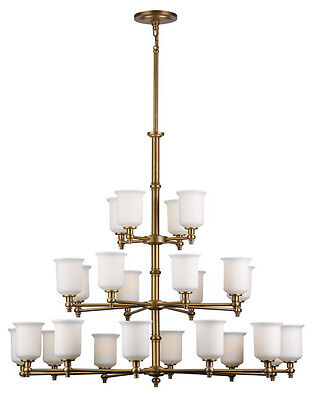 Forecast Lighting Antique Brass And Etched White Opal Glass 24 Light Chandelier
