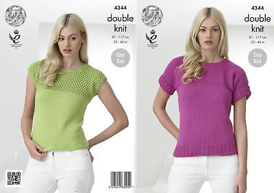King Cole Ladies Double Knitting Pattern Easy Knit Capped Short Sleeve Tops 4344