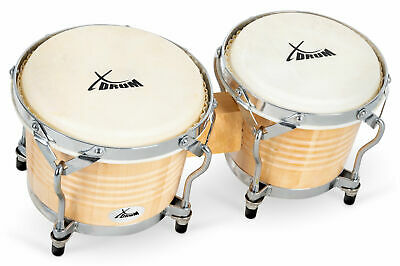 Professional Bongos 17 And 22 Cm Drums Hand Percussion Instrument Wood Nature