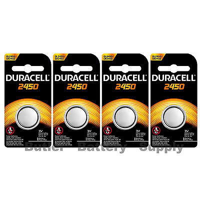 4 x 2450 Duracell Lithium 3V Coin Cell Batteries (CR2450, DL2450, ECR2450)