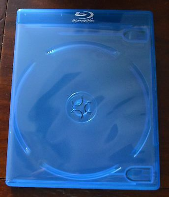 One -- Blu Ray DOUBLE DISC Empty Replacement Case with Logo -- NEW Generic Blue