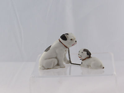 Vintage Bulldog & Puppy Figurine, Connected By Chain, Made in Japan