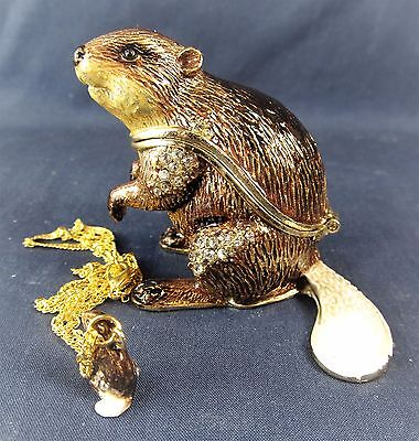 Beaver Jeweled Pewter Trinket Box w/ Necklace Wildlife Decor