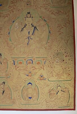 Golden Maitreya thangka - fabric on drymount