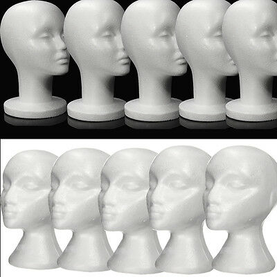White Female Polystyrene Mannequin Head Dummy Wig Stand Shop Display Hat Cap UK