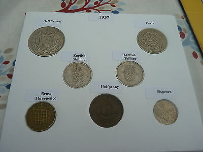 1957 Full Set of 7 Coins in Display Card - Ideal Birthday/Anniversary Present