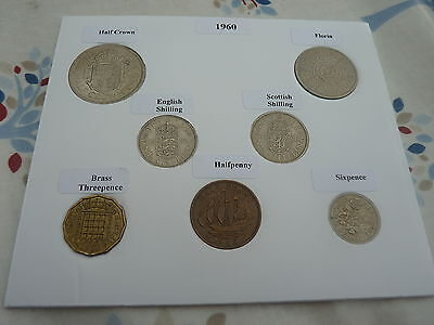 1960 Full Set of 7 Coins in Display Card - Ideal Birthday/Anniversary Present