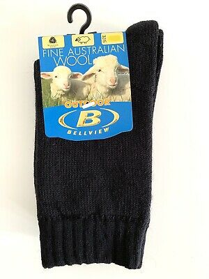 2 Pairs - Kids Thick Wool Socks 100% Wool Inner - Australian Made Kids Size 9-12