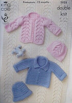 KNITTING PATTERN Baby Jacket, Hats, Cardigan and Blanket DK King Cole 3928