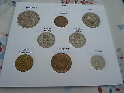 1954 Full Set of 8 Coins in Display Card - Ideal Birthday/Anniversary Present