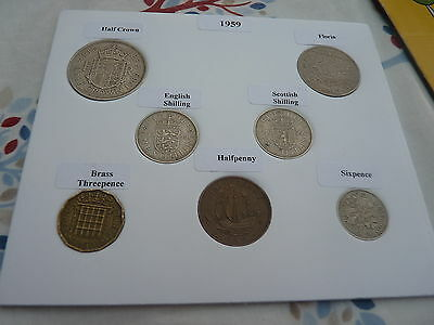 1959 Full Set of 7 Coins in Display Card - Ideal Birthday/Anniversary Present