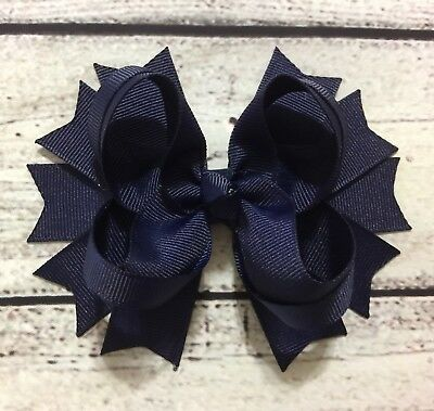 Handmade Back To School Navy Stacked Boutique Hair Bows For Baby Girl/ Girls