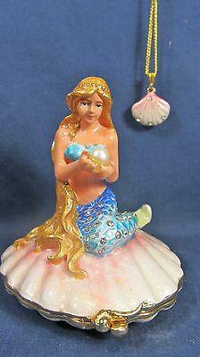 Mermaid on Shell w/ Pearl & shell necklace Enamel Jeweled Pewter Trinket Box