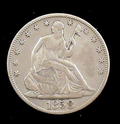 1858-O Very Fine Details (cleaned) Seated Liberty Silver Half Dollar - cs18
