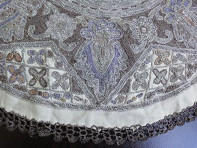 Stunning Antique Hand-Embroidered with Metal Thread Round Tablecloth from 1920s
