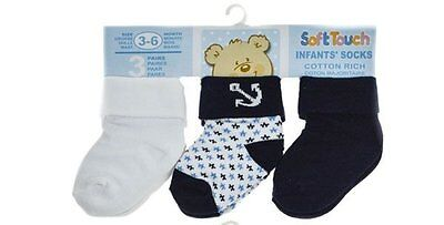 3 Pairs Baby Boys Socks Anchors Blue/white/navy 0-3/3-6/6-12 Mths/cotton Rich