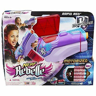 NEW Nerf Rapid Red Blaster Kids Girl Toys Dart Plastic Gun Play Fun Outdoor Game