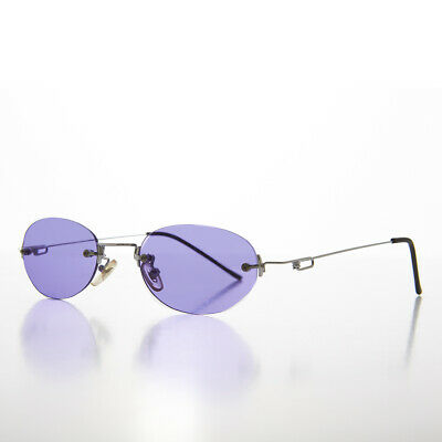 90s Vintage Rimless Oval Purple Colored Lens Sunglasses NOS  - Piper