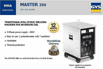 Gys Master 250 3 Phase 400V Mma 220A 68V Stick Welding Machine Intensive Use