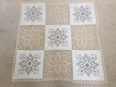 """Vintage EMBROIDERED CROCHETED LACE 30"""" SQUARE DOILY Table Cover FLEUR DE LIS"""