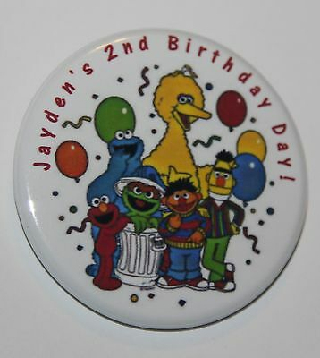 """12 Personalized 1.75"""" Sesame Street Birthday  Pin-back Buttons"""