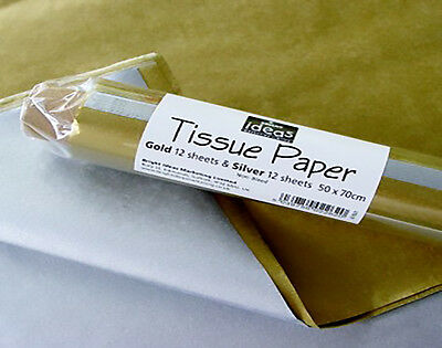 Gold & Silver Tissue Paper - 24 Sheets | Gift Wrap Supplies