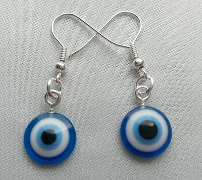 A Pair of Ladies Blue Evil Eye Kabbalah Lucky Charm Earrings. Jewish Tradition