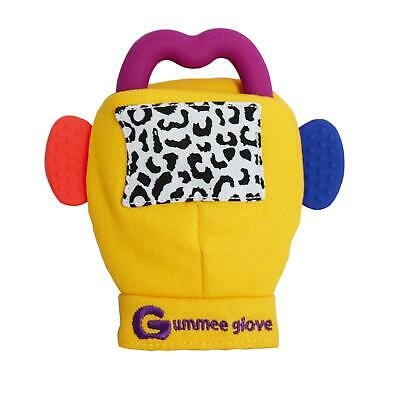 Gummee Glove Yellow Baby Teething Mitten Silicone Heart Shape Teether Ring Toy