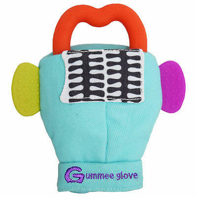 Gummee Glove Turquoise Baby Teething Mitten Silicone Shaped Teether Ring Toy