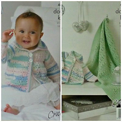 CROCHET PATTERN Baby Blanket/Throw and Jacket DK King Cole 4418