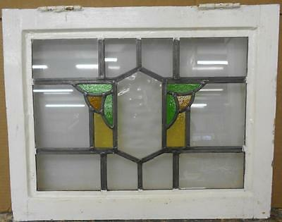 "OLD ENGLISH LEADED STAINED GLASS WINDOW Abstract Geometric 21"" x 16.75"""