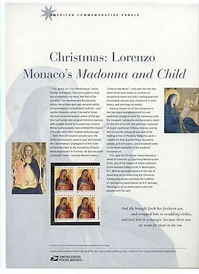 #3879 37c Madonna and Child by Monaco USPS #723 Commemorative Stamp Panel