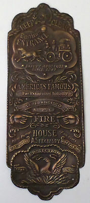 Firehouse Door Plaque Wall Sign Solid Brass Engine Entrance San Francisco
