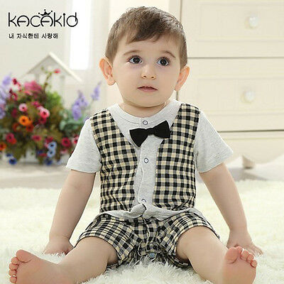 !Clearance! Baby Boy Formal Tuxedo Suit Style One-Piece Romper Size 3-12 months