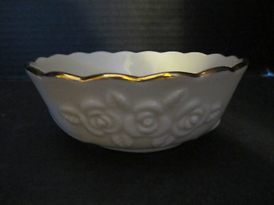 Vintage Lenox Ivory Candy Dish Bowl 24 K Gold Trim Handcrafted Embossed Roses
