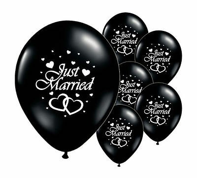 "8 Just Married Black 12"" Helium Quality Pearlised Wedding Balloons (Pa)"