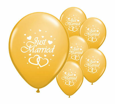 """8 Just Married Gold 12"""" Helium Quality Pearlised Wedding Balloons"""