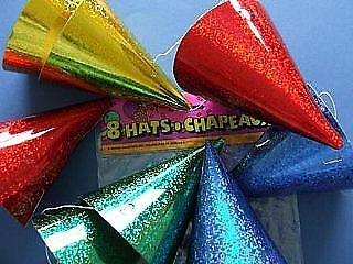 8 Holographic Party Hats   Kids Birthday Party Hats