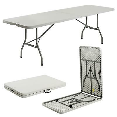 Folding Picnic Table, 8ft - Portable Camping Party Garden Caravan Trestle