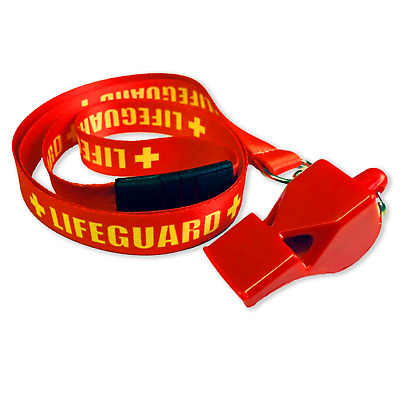 Lifeguard Red Whistle & Red / Yellow Life Guard Lanyard Set With Safety Break