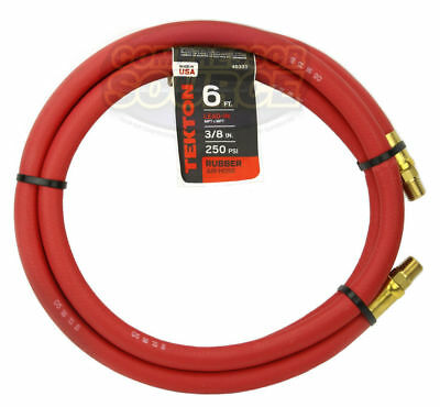 "Tekton 3/8"" x 6' ft Rubber Air Hose Whip Lead 250 PSI Brass Ends USA Made 46333"